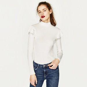 NWT Zara Knit Ruffled Sleeve Sweater Top